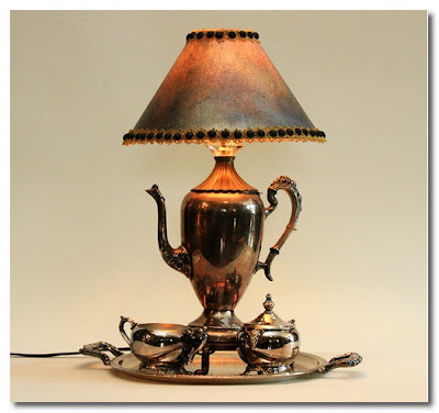 lamp made from old silver tea set