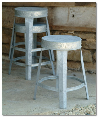 garden trading Factory Style Stool - Galvanised
