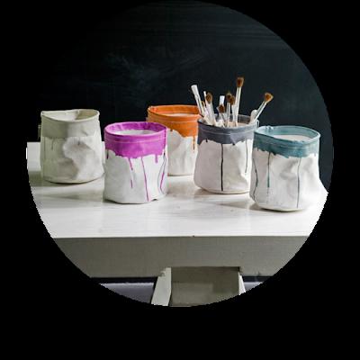 canvas paint pots