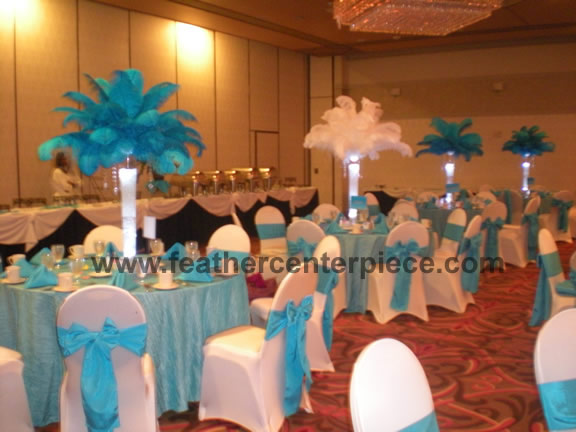 The feather diva turquoise blue centerpieces