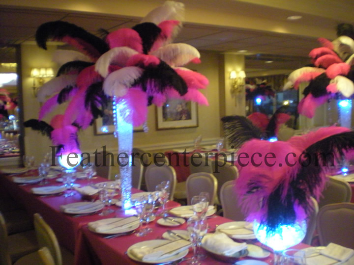 feather centerpieces are perfect for a sweet sixteen birthday party