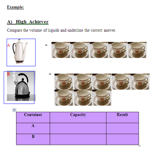 measurement of volume of liquid in mathe year 2. Black Bedroom Furniture Sets. Home Design Ideas