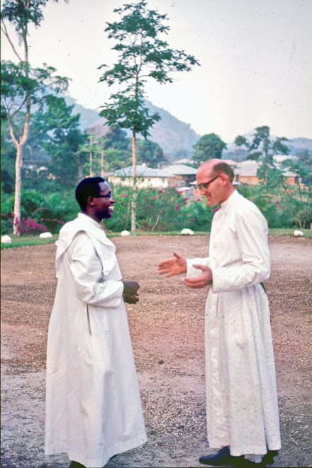 Father Ganda (on left) - Bishop of Sierra Leone - with visiting Irish Priest at Kenema