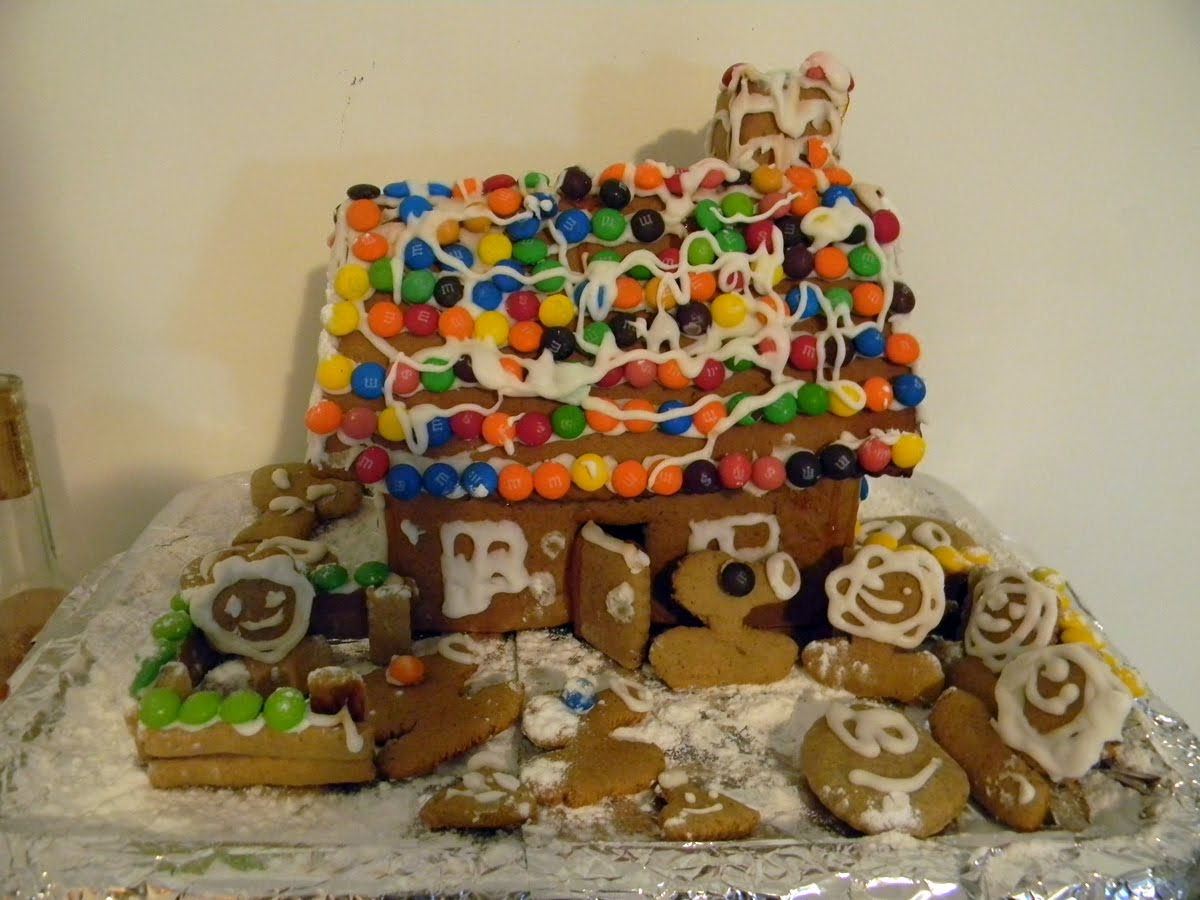 Our 2010 gingerbread house with a plants vs zombies theme