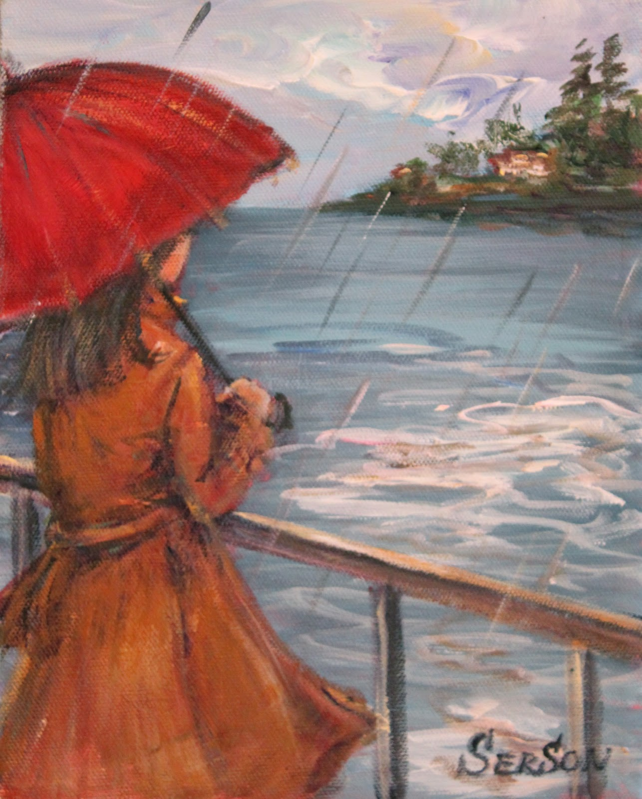 Serson art girl with red umbrella for Painting red umbrella