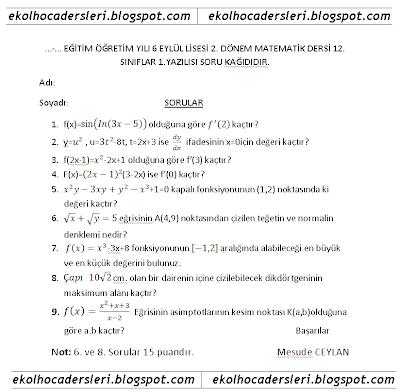 lise 4 12.sınıf matematik 2.dönem 1.yazılı soruları
