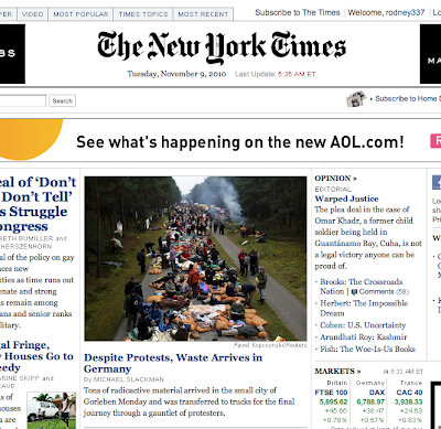 NY Times Front Page Nov. 9, 2010