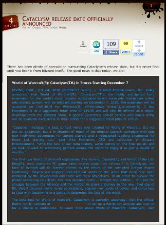 Cataclysm release date in Australia
