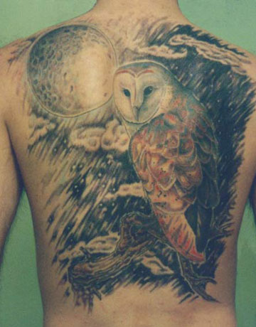 owl tattoo on back body male