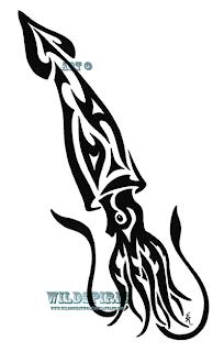Tribal Squid Tattoo design