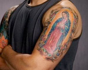 virgin tattoo on hand male