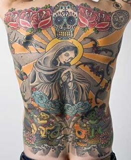 Virgin Mary tattoo for male on back body