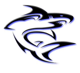Tribal shark tattoo for body