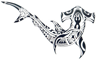 Tribal shark tattoo art design