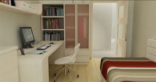 minimalist apartment interior study room