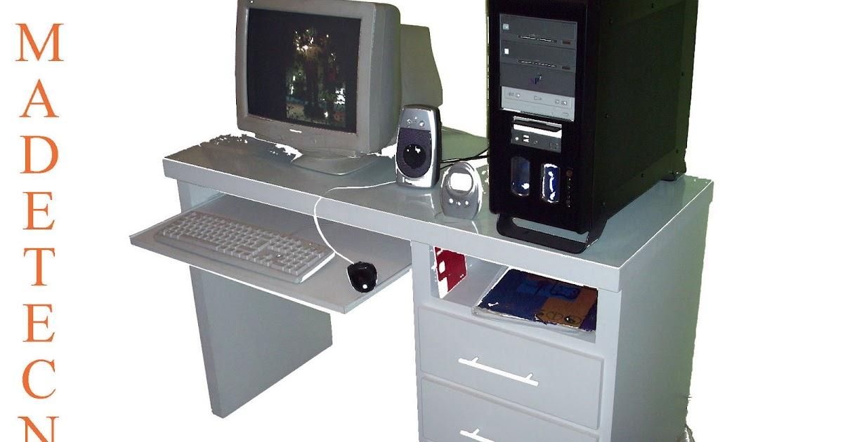 Madetecno muebles modernos escritorio para pc 3 cajones - Muebles para pc de escritorio ...