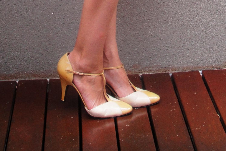 Gray And Yellow Heels