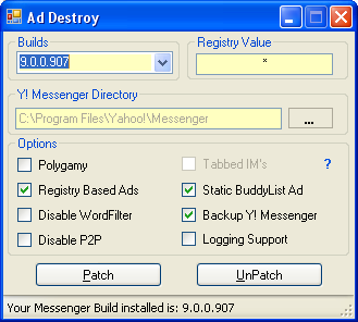 Remove Ads and Backup Yahoo! Messenger 9.0 Beta - Ad Destroy .NET