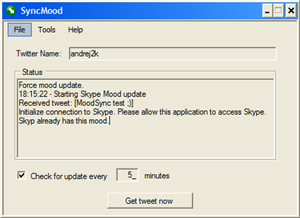 SyncMood - Copy Your Twitter Message to Skype Mood