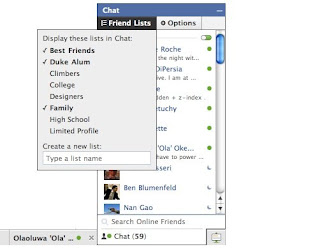 Facebook Chat Update : Control Who Sees You Online via Friend Lists