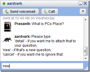 Aardvark on Google Talk