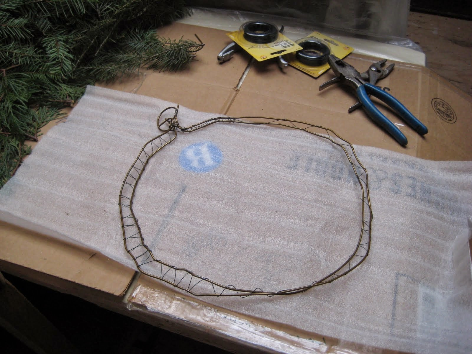 Chickens On The Porch: Coat Hanger Christmas Wreath Or How To Make A ...