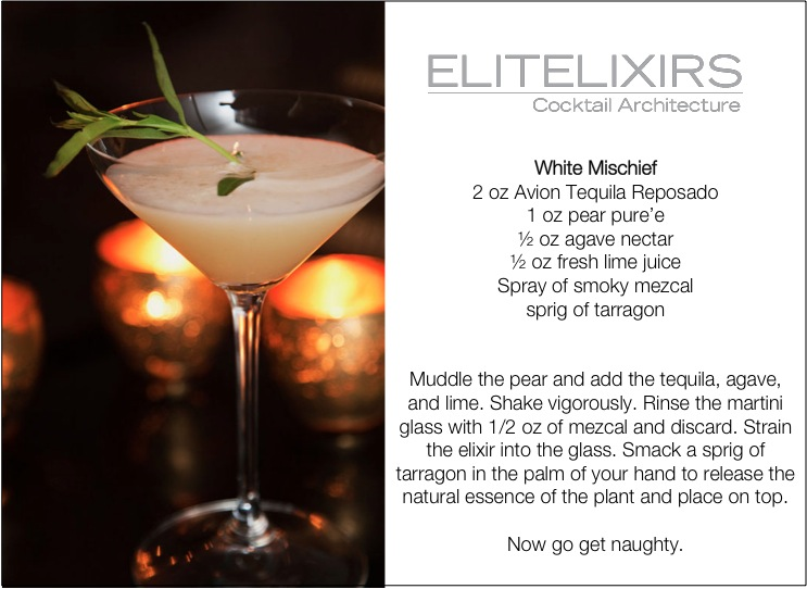 elite elixirs white mischief cocktail on merci new york from colin cowie's holiday party