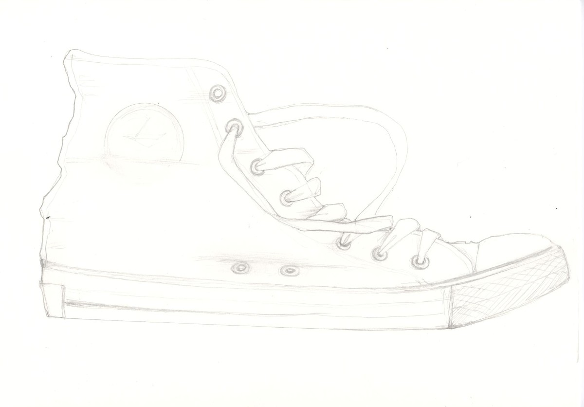 Get Your Converse Boot, Or Whatever It Is You Want To Draw, And Draw Around  It Yes, Actually Put It On The Page And Draw Around It