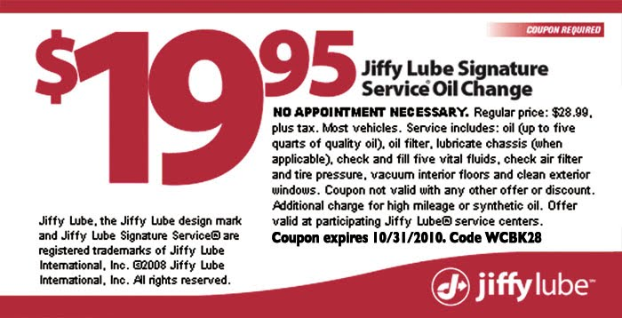 Jiffy lube discount coupons