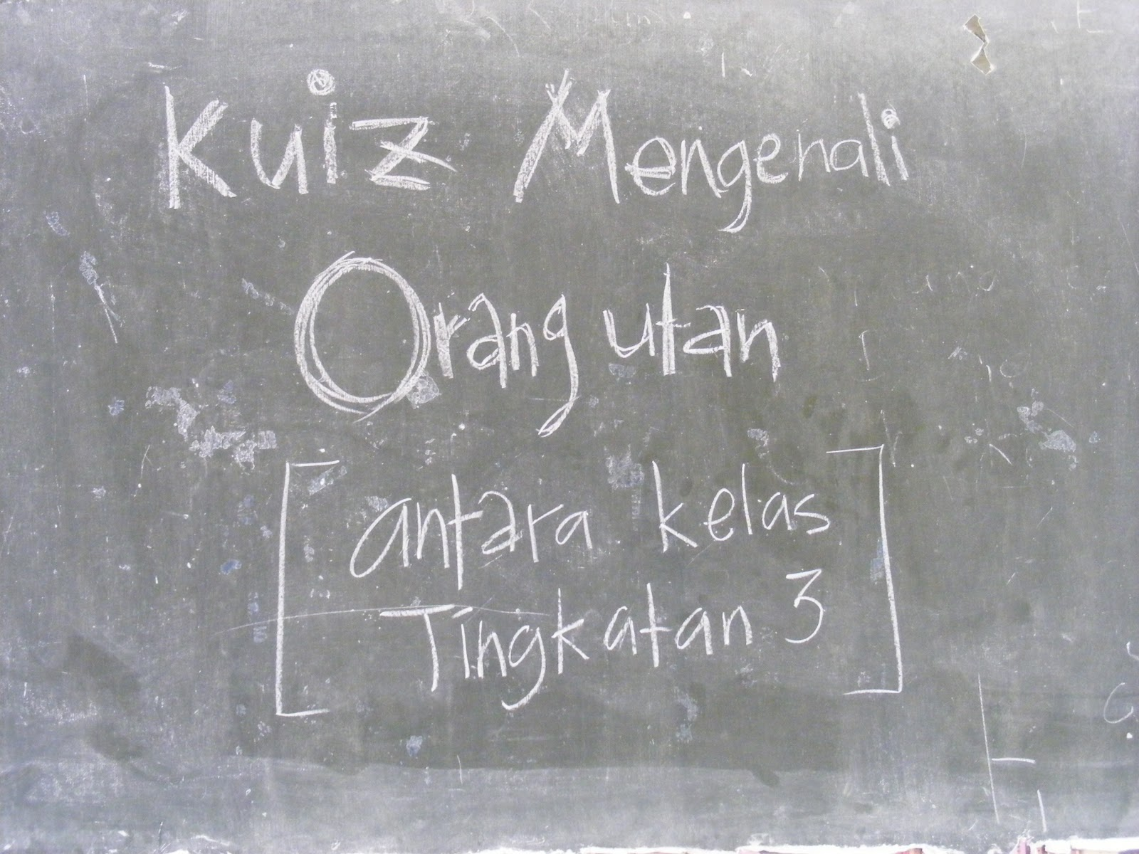 from the teachers to do a quiz of orang-utans for the form 3 students