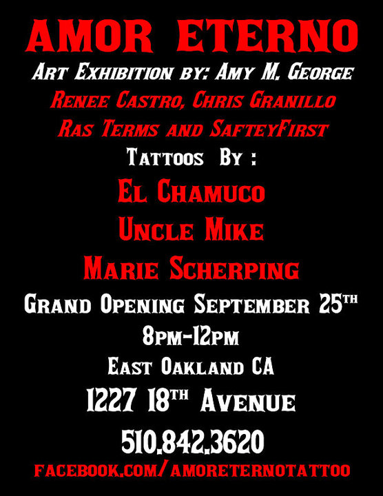 Project Elefont: AMOR ETERNO TATTOO SHOP GRAND OPENING SEPT 25TH