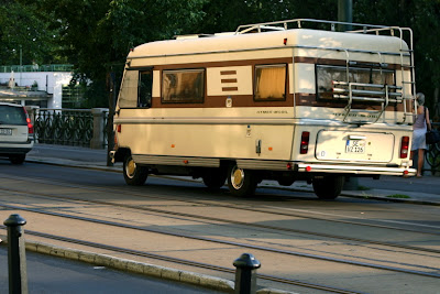 Rolling through Prague in a motor home
