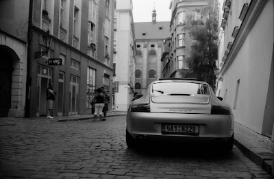 Porsche 911 in the Prague street