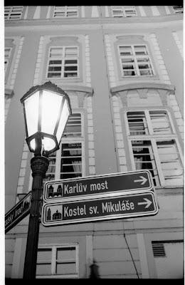 Prague street lights and signs