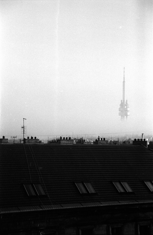 Prague TV Tower in fog