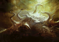 I couldn't find a good pic of a water grue.  So here, have a shoggoth.