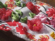 .:: Red Passionflower silk embroidered patch ::.