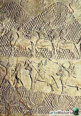 [Palácio+de+Assurbanipal+em+Nínive+-+Representa+uma+batalha+do+exército+Assírio+contra+cidades+Elamitas.jpg]
