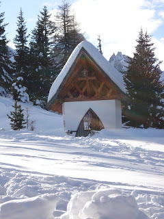 winter time, snowy chapel in austria