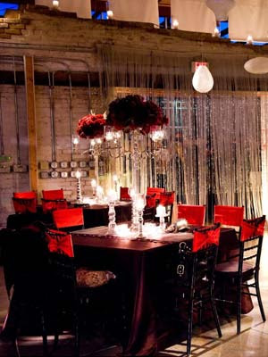 black and red wedding receptions