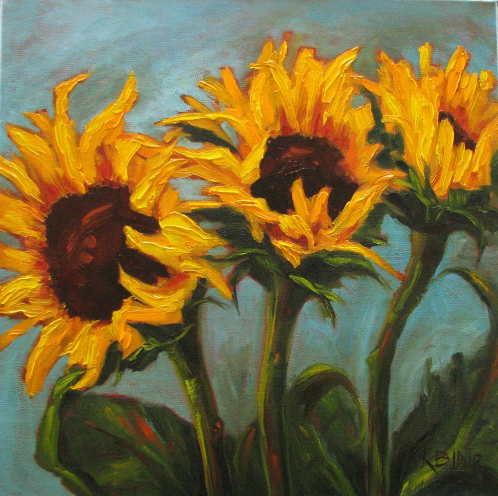 Kim Blair: Sunflower Painting, Autumn Yellow, by Canadian ...