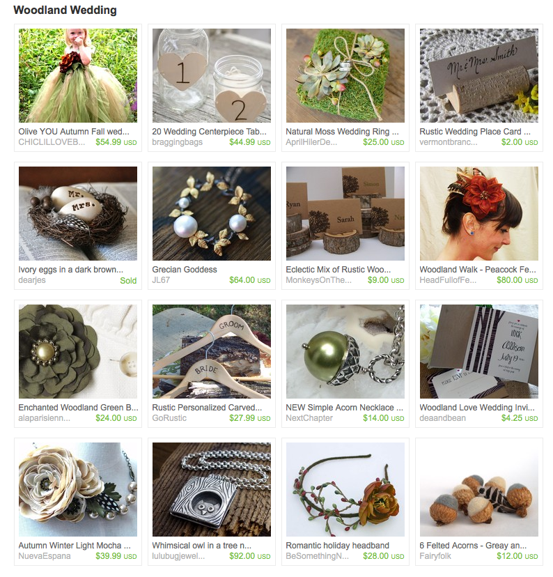 Here are Woodland Wedding finds on Etsy Check out my Treasury HERE