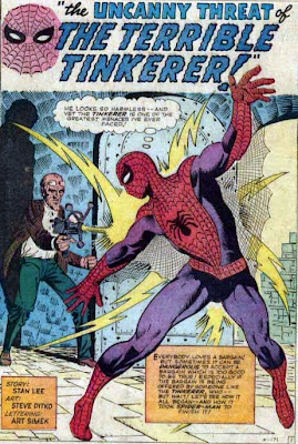 Amazing Spider-Man #2, the Terrible Tinkerer zaps Spider-Man from behind with a ray gun in his underground lair