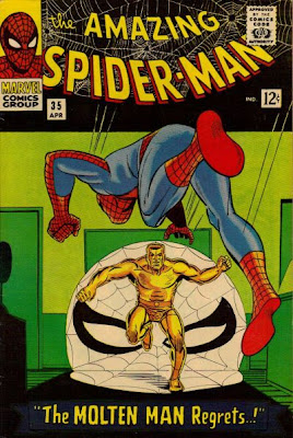 Amazing Spider-Man #35, upon his return, Spidey launches himself at the Molten Man
