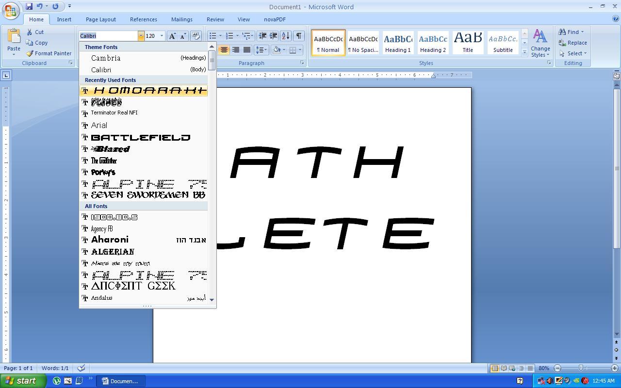 ketik terus pilih tipe fontnya
