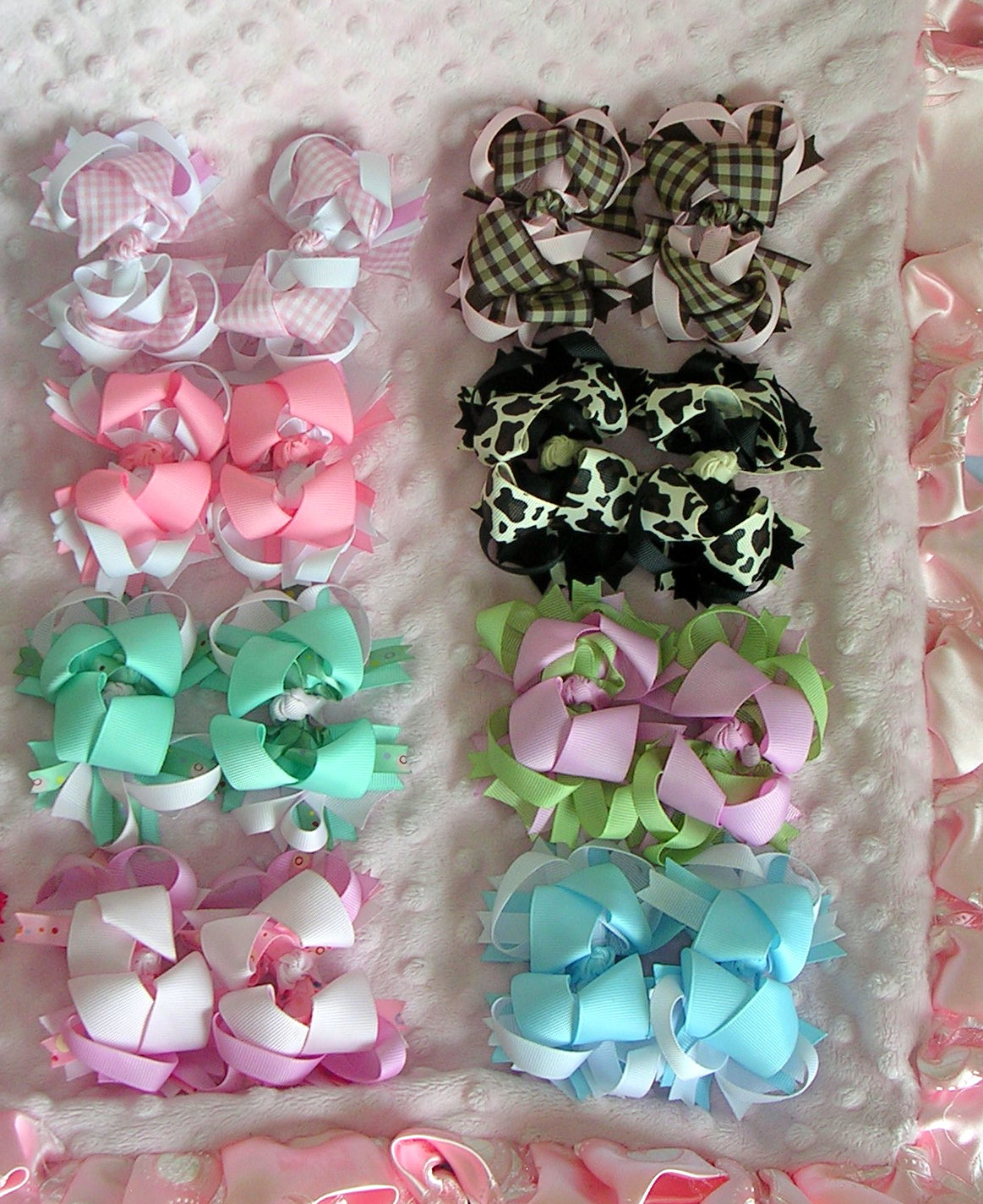 2 black & white zebra bows. 2 chocolate & gold plaid bows. 2 hot pink ...