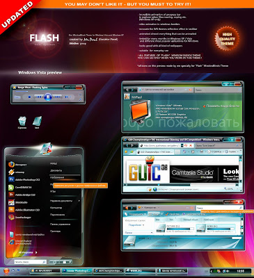 Preview Flash Live Sistem Theme for WindowBlinds - For XP, Vista