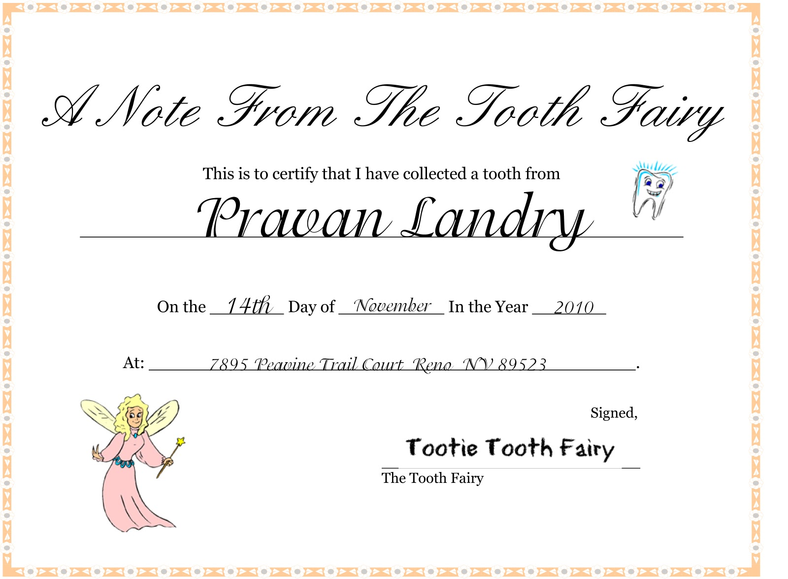 Famous tooth fairy certificate template ideas resume ideas www tooth fairy certificate award for personal reference letter templates two worlds meet glitter and gold fairies and dust magical xflitez Choice Image
