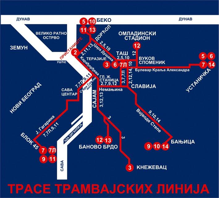 Схема трамвайных линий в