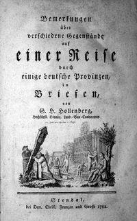 G.H.Hollenberg: Reise durch einige deutsche Provinzen (1782)